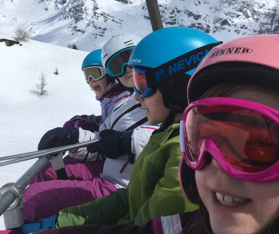 Alison group children on chairlift la Rosiere