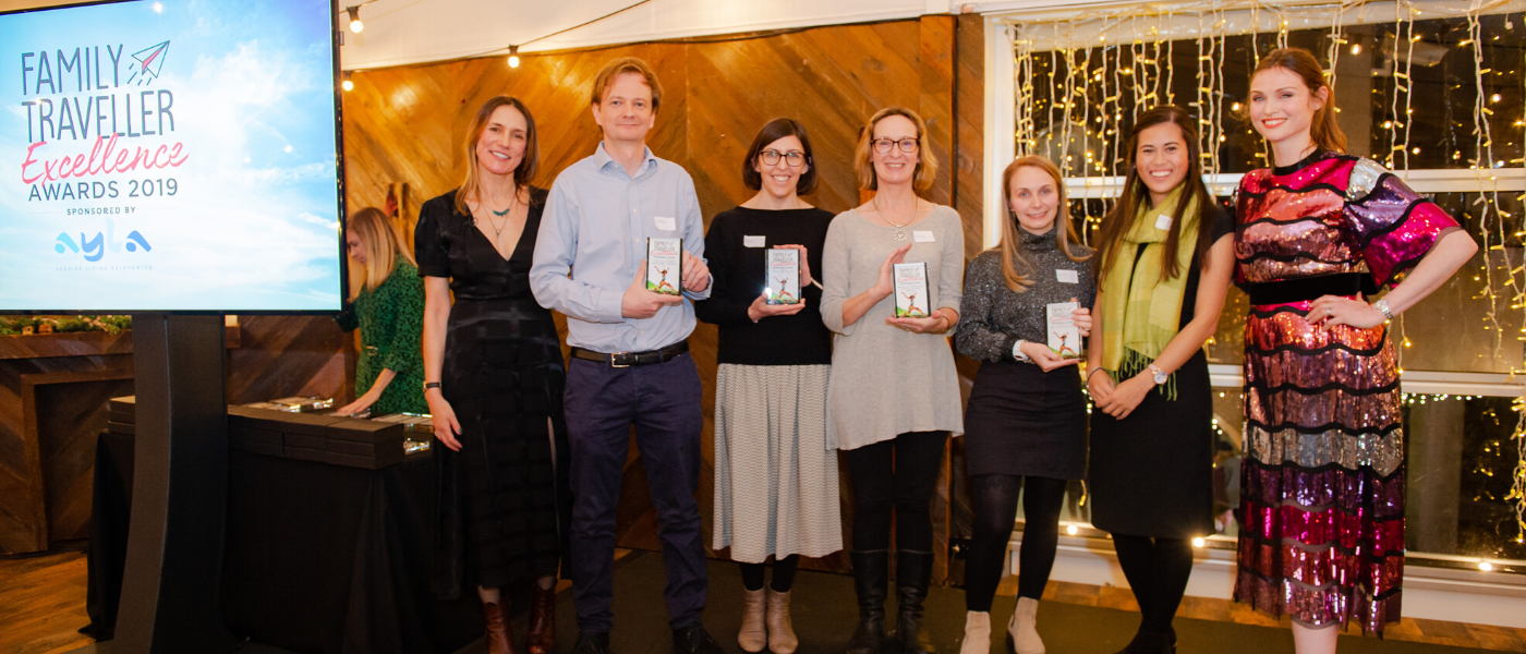Alison (with award, middle-left) alongside fellow category winners, host Sophie Ellis-Bextor, and Family Traveller Editor Jane Anderson.