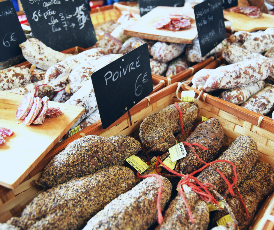 Cured meats at the local food market in the Alps