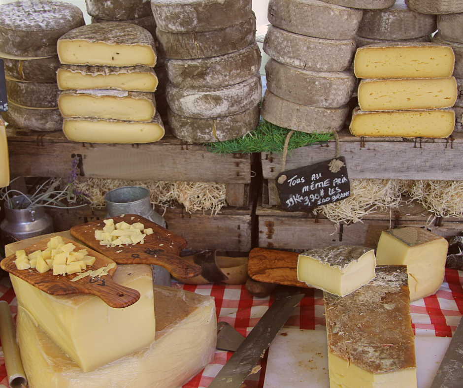 Choice of cheese at the French market in the Alps