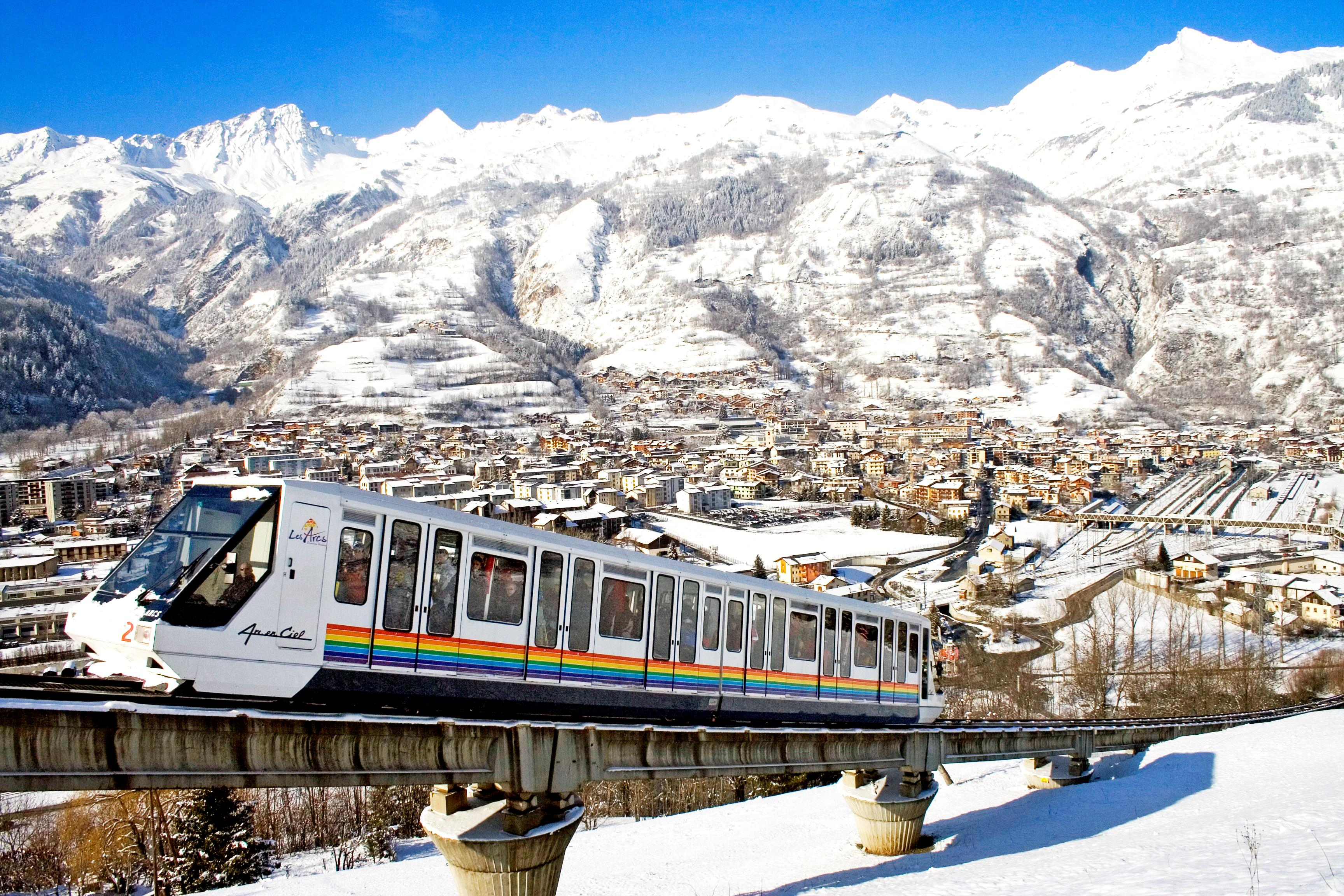 Bourg St Maurice Funicular Train to Les Arcs 1600