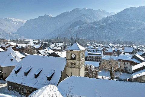 View of the traditional village of Samoens