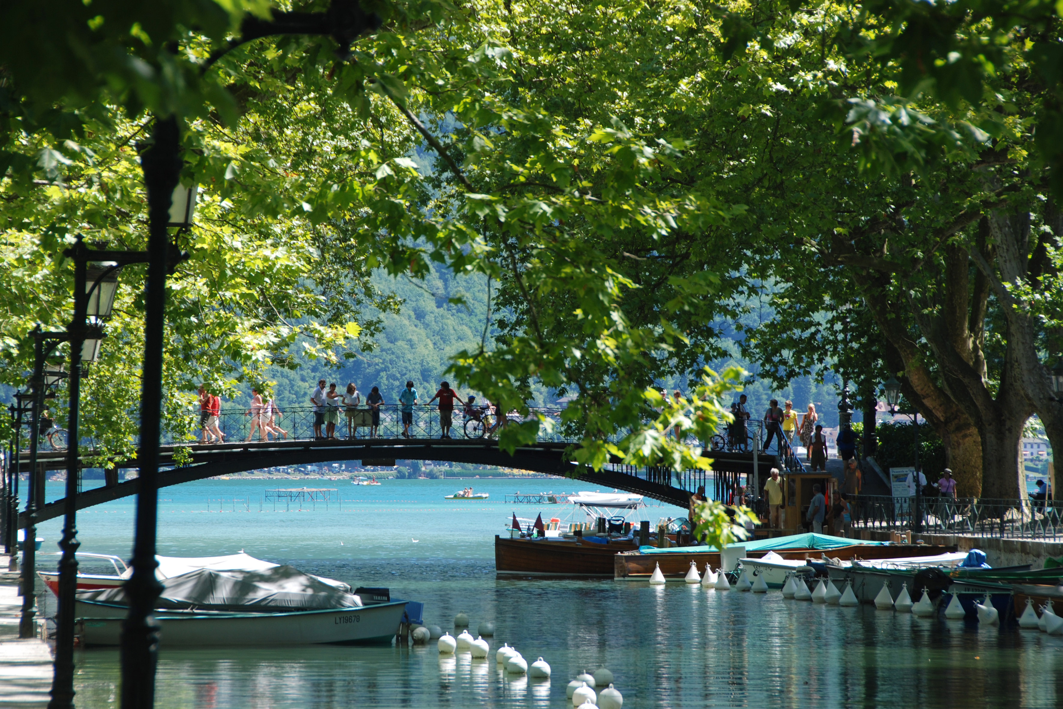 Annecy bridge summer Alps