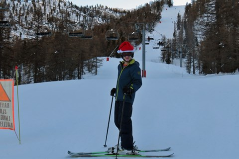At the foot of his favourite run, the 'Les Rhodos' black piste