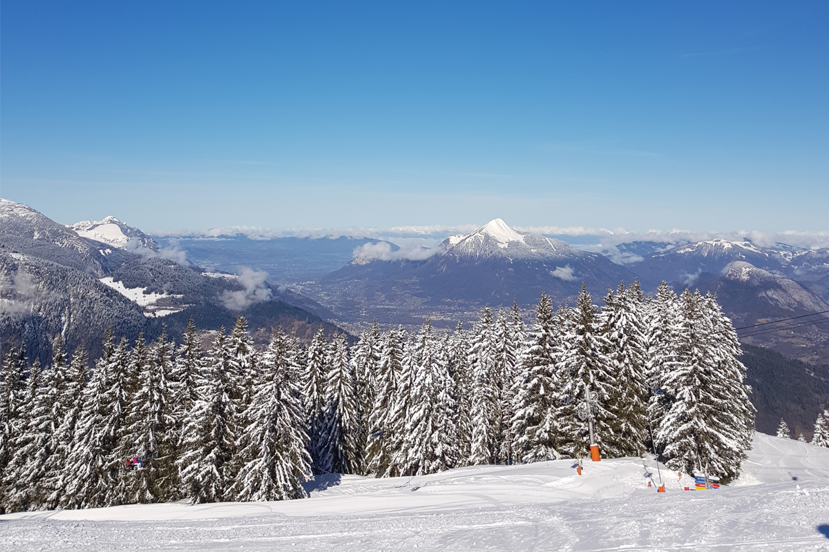 The view of Grand Massif from the Coin-Coin green piste at Les Carroz