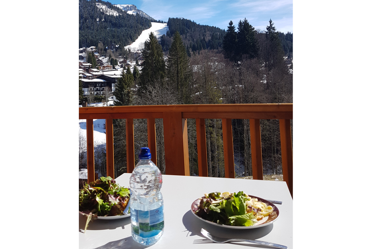 Making the most of the view - lunch on the balcony