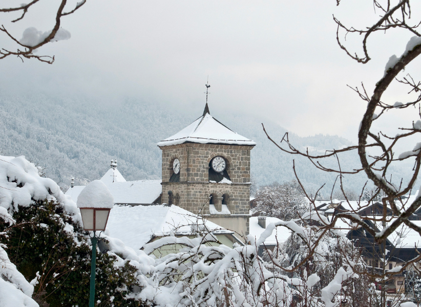 The historic church in the centre of the ski resort of Samoens