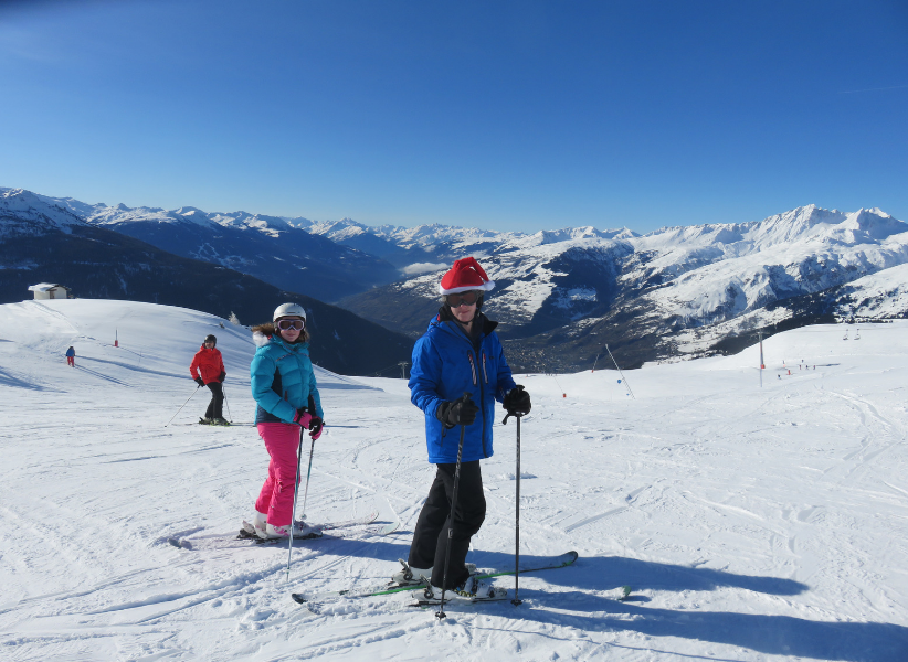 Andrew and Isobel skiing